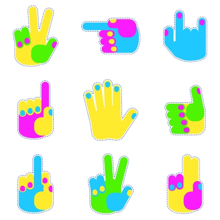 Set of bright patch hand gestures icon. Sign of body language and touch gestures. Flat vector cartoon illustration. Objects isolated on a white background. Illustration