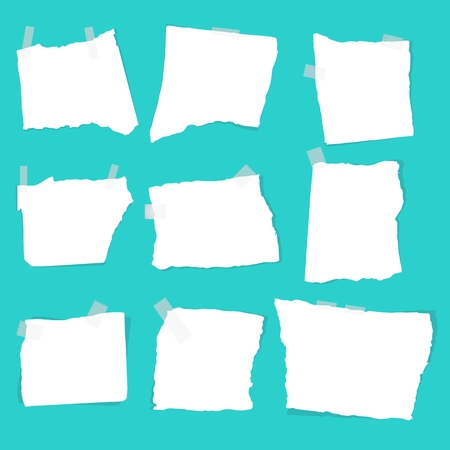 shreds: Notepaper sheets with shadow. Set of paper different shapes scraps. Flat vector cartoon illustration. Objects isolated on a white background.