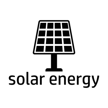 green power: Green energy logo. Solar power concept. Flat vector cartoon illustration. Objects isolated on a white background. Illustration