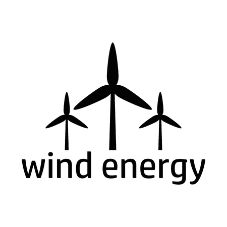 green power: Green energy logo. Wind power concept. Flat vector cartoon illustration. Objects isolated on a white background.