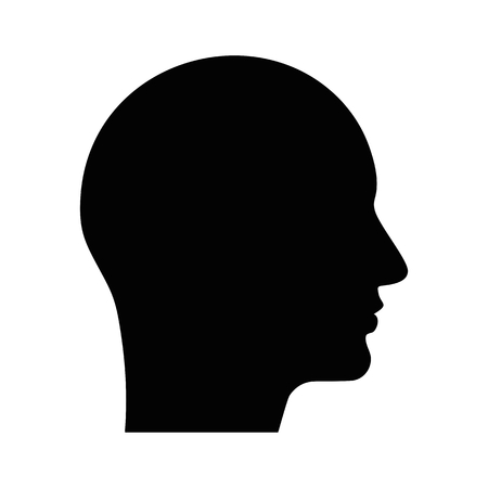 Black profile icon. Flat vector cartoon illustration. Objects isolated on a white background.