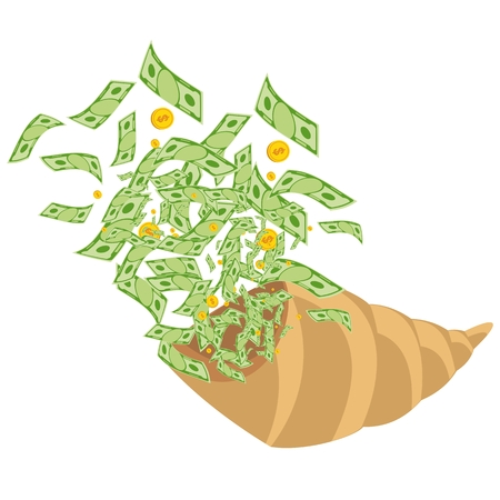 horn of plenty: Cornucopia from which fly out of money. Generosity, success, wealth on business. Flat vector cartoon illustration. Objects isolated on a white background.
