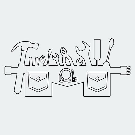 ツールベルトのシルエット。フラット ベクトル漫画イラスト。オブジェクトを白い背景に分離します。