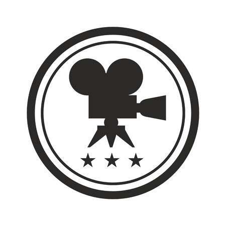 Film Award for the best film in the form of logo with camera and laurel branch. Movie Theater, Cinematic Award, Movie Premiere. Flat vector cartoon illustration. Objects isolated on white background.