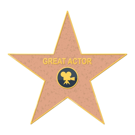 walk of fame: walk of fame star. Flat vector cartoon illustration. Objects isolated on a white background. Flat vector cartoon illustration. Objects isolated on a white background. Illustration