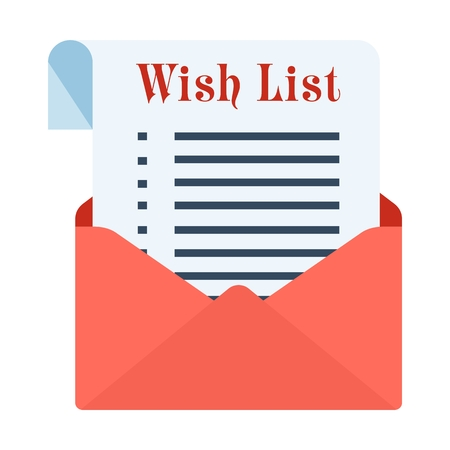 Wish sheet in a red festive envelope. Flat vector cartoon illustration. Objects isolated on a white background.