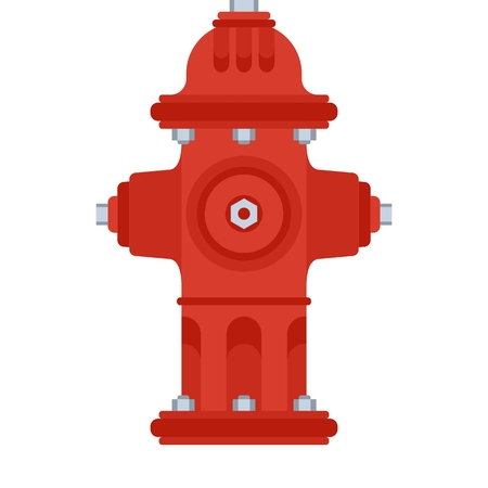 Fire hydrant on white. Firefighter equipment and clothing, tools, accessories. Illustration