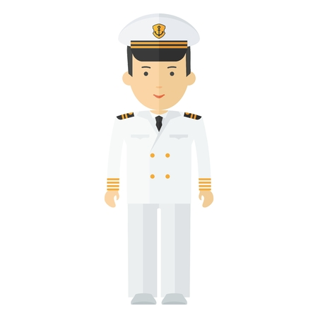 Captain of ship in white suit. Command of military cruiser, a cruise liner. Illustration