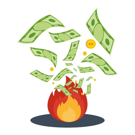 Cash flow. Banknotes fly away into fire. Bankruptcy and the collapse of the monetary system. Illustration