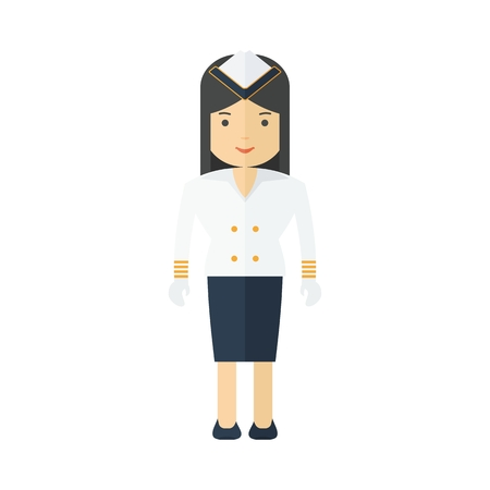 Stewardess cruise liner, navy. Girl in the sea uniform. Flat vector cartoon illustration. Objects isolated on a white background. Illustration