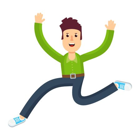 Joyful man runs happily and happily bounces. Flat vector cartoon illustration. Objects isolated on a white background.