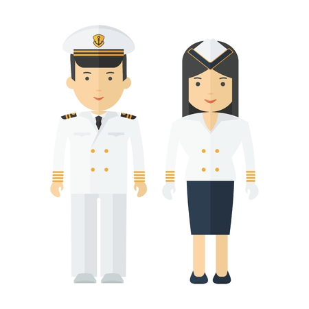 Captain of ship in white suit. Stewardess cruise liner, navy. Staff of military cruiser or cruise liner in uniform. Flat vector cartoon illustration. Objects isolated on a white background. Illustration