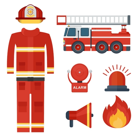 Set of firefighter equipment and clothing, tools, accessories. Flat vector cartoon illustration. Objects isolated on a white background. Illustration