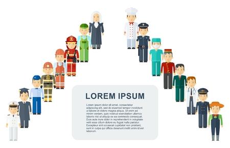 Conjunto de hombres y mujeres de varias profesiones. Día del Trabajo, servicio de empleo, recursos humanos en diversas industrias. Ilustración de dibujos animados de vector plano. Objetos aislados en un fondo blanco.