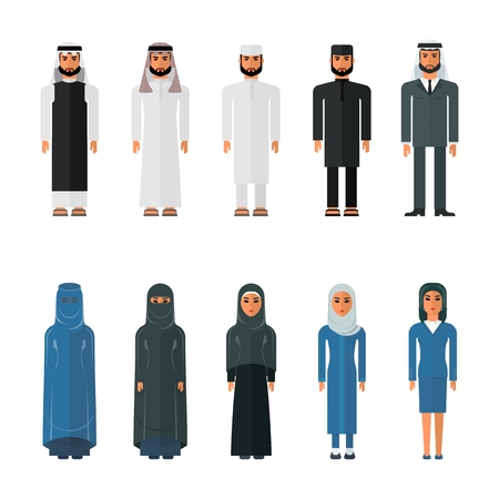 asian family: Set of arab men and arab women in traditional Muslim clothing. Flat vector cartoon illustration. Objects isolated on a white background. Illustration