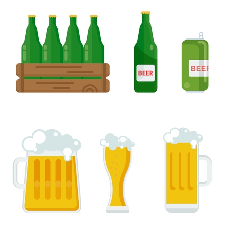 Different kinds of containers for bottling and storing beer. Packaging for gifts, parcels and goods. Flat vector cartoon illustration. Objects isolated on a white background.