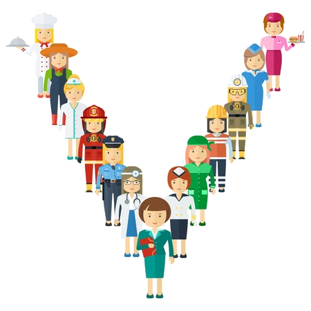 Set of men and women of various professions. Labor Day, employment service, human resources in various industries.
