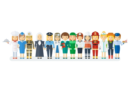 Set of men and women of various professions. Labor Day, employment service, human resources in various industries. Flat vector cartoon illustration. Objects isolated on a white background.