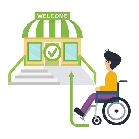 Disabled person in stroller near store. Flat vector cartoon illustration. Objects isolated on a white background.