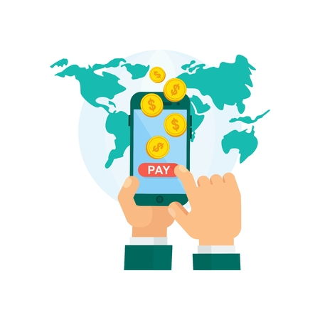 international bank account number: Hand holding phone and pay global mobile banking payment system worldwide. Flat vector cartoon illustration. Objects isolated on a white background.