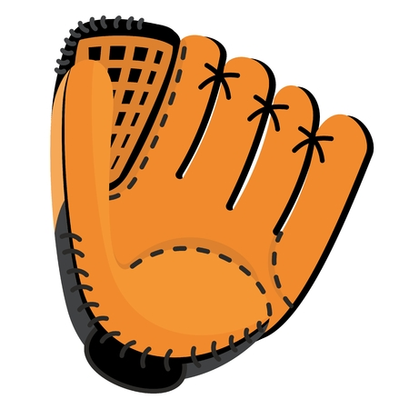 Baseball equipment. Leather softball glove. Flat vector cartoon illustration. Objects isolated on a white background. Illustration