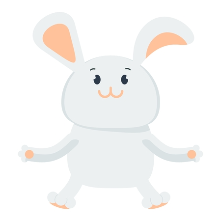Small happy cute easter bunny. Flat vector cartoon illustration. Objects isolated on a white background. Illustration