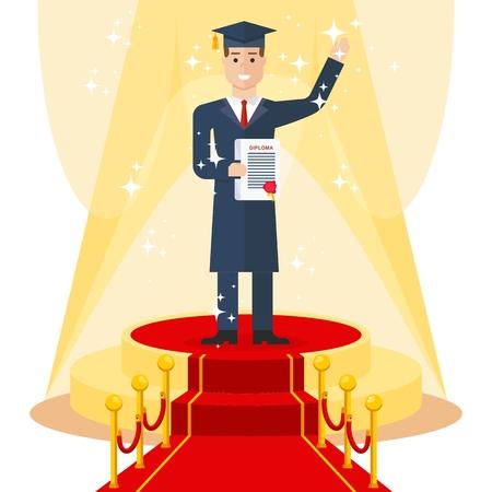 master degree: student on red carpet Illustration