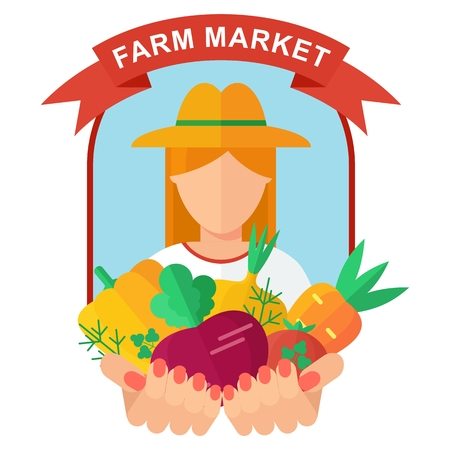 handful: farm Market logo woman Illustration