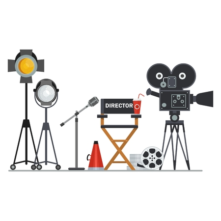 Film directors chair with megaphone, projector, camera and clapboard. Work on the set of the film. Flat vector cartoon illustration. Objects isolated on a white background. Illustration