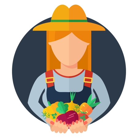 handful: Farmer holding rich harvest in hands. Logotype for store of agricultural products, vegetable market, natural organic products. Flat vector cartoon illustration. Objects isolated on background.