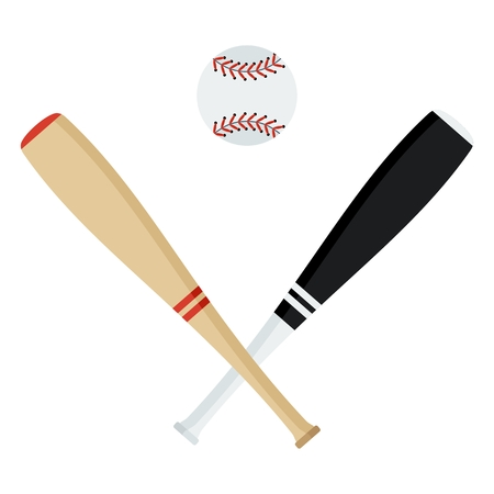 Crossed baseball bats and ball. Flat vector cartoon illustration. Objects isolated on a white background.