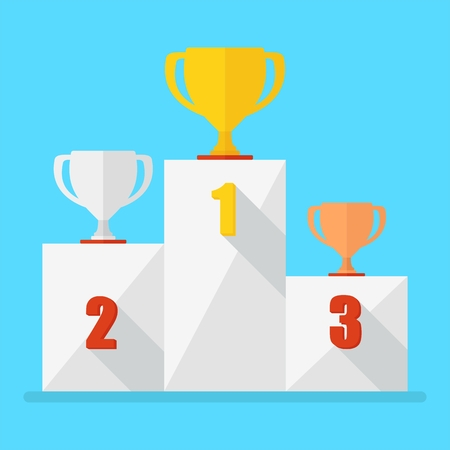 Victory Podium with first, second and third place. Conceptual image competition winner.Cartoon flat vector illustration. Objects isolated on a background.