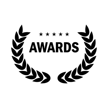 Film Award for the best film in the form of logo with laurel branch. Movie Theater, Cinematic Award, Movie Premiere. Flat vector cartoon illustration. Objects isolated on white background.  イラスト・ベクター素材