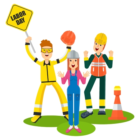 Labor day people workers. Flat vector cartoon illustration. Objects isolated on a white background.