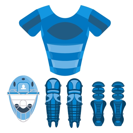 Blue baseball chest protector. Baseball equipment. Flat vector cartoon illustration. Objects isolated on a white background. Illustration