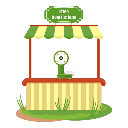 Shop fresh market. Flat vector cartoon illustration. Objects isolated on a white background.