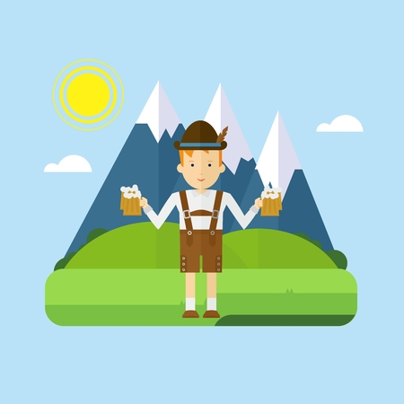Bavarian boy waiter with mug of frothy beer on a background of blue mountains. Flat vector cartoon illustration. Objects isolated on a white background.