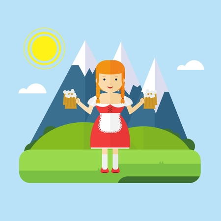 Bavarian girl waitress with a mug of frothy beer on a background of blue mountains. Flat vector cartoon illustration. Objects isolated on a white background.