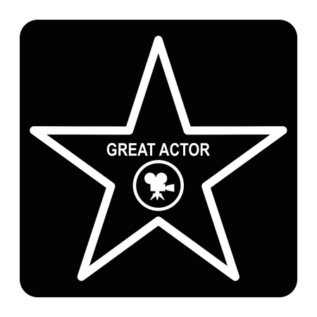 Walk of fame star black icon. Flat vector cartoon illustration. Objects isolated on a white background. Illustration