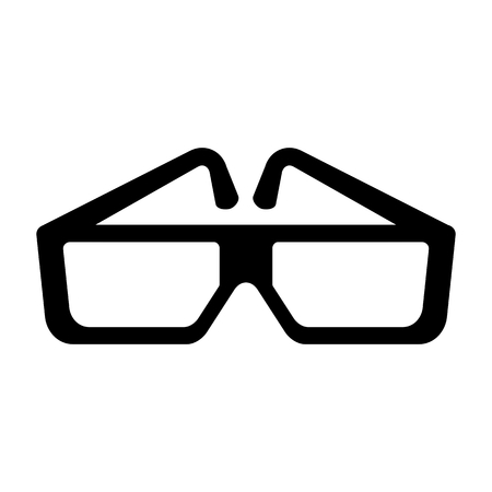 Black cinema glasses icon. Flat vector cartoon illustration. Objects isolated on a white background.