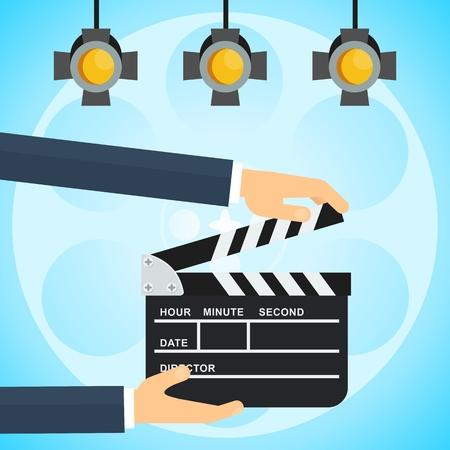 Hands with clapperboard. Flat vector cartoon illustration. Objects isolated on a white background.