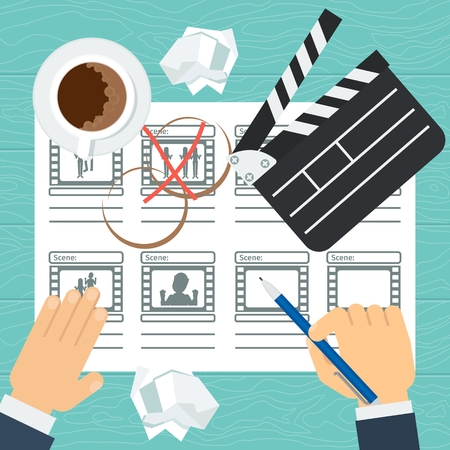 Storyboard: Storyboarding process image. Flat vector cartoon illustration. Objects isolated on a white background.