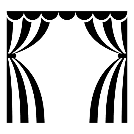 concerto: Theatrical curtains black icon. Flat vector cartoon illustration. Objects isolated on a white background.