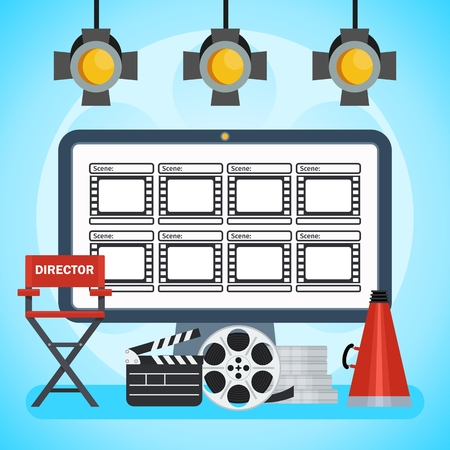 Video production poster. Computer and Storyboard, director chair and film. Flat vector cartoon illustration. Objects isolated on a white background.
