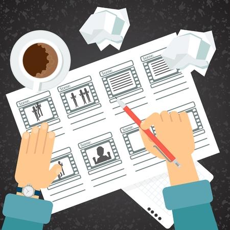 Storyboarding process hand Vectores
