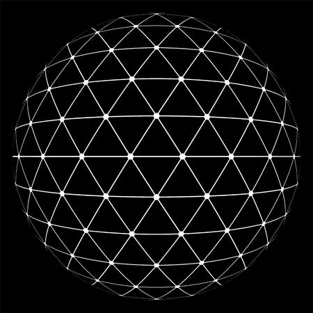 抽象の低ポリ三角球。フラット ベクトル漫画イラスト。黒の背景に分離されたオブジェクト。