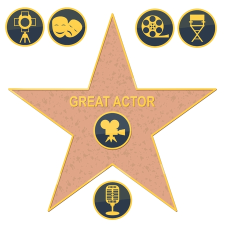 walk of fame star. Flat vector cartoon illustration. Objects isolated on a white background. Çizim