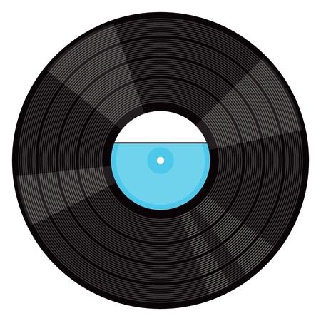Disque vinyle phonographique. Illustration de dessin animé de plat vecteur. Objets isolés sur un fond blanc.