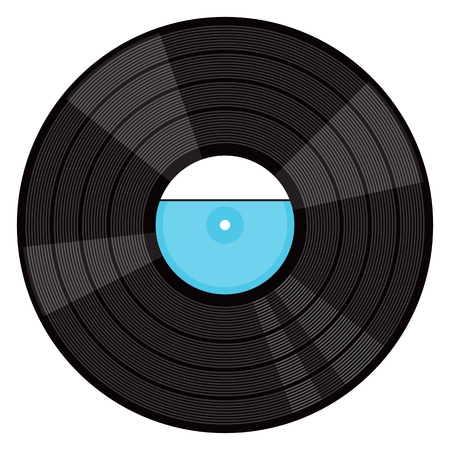 Vinyl gramophone record. Flat vector cartoon illustration. Objects isolated on a white background. Illustration