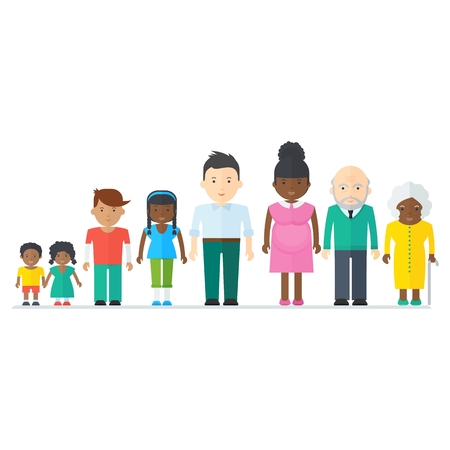 Multicultural ethnic people. Flat vector cartoon illustration. Objects isolated on a white background.